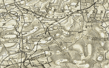 Old map of Auchlin in 1904-1906