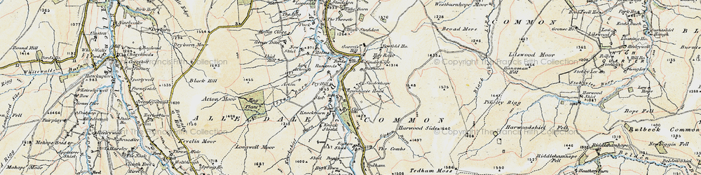 Old map of Acton Burn in 1901-1904