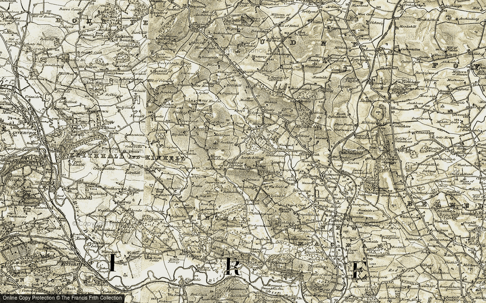 Old Map of Historic Map covering Larch-hillock in 1909-1910
