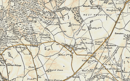 Old map of Wyke Down in 1897-1909