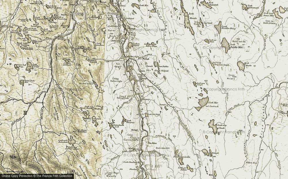 Old Map of Historic Map covering Allt a' Chaisteil in 1910-1912