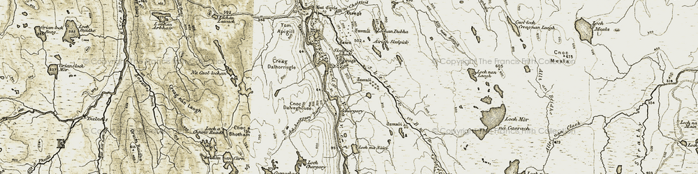 Old map of Allt a' Chaisteil in 1910-1912