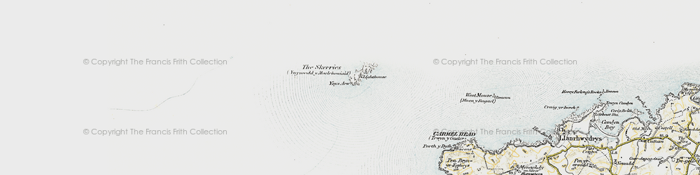 Old map of Ynys Arw in 1910