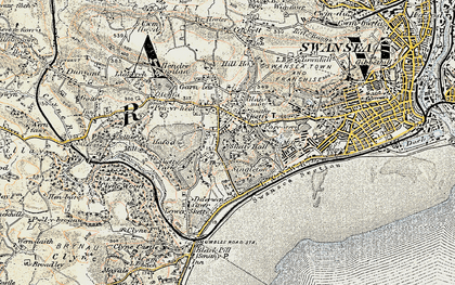 Old map of Sketty in 1900-1901
