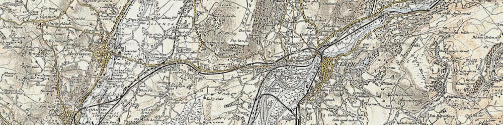 Old map of Skewen in 1900-1901