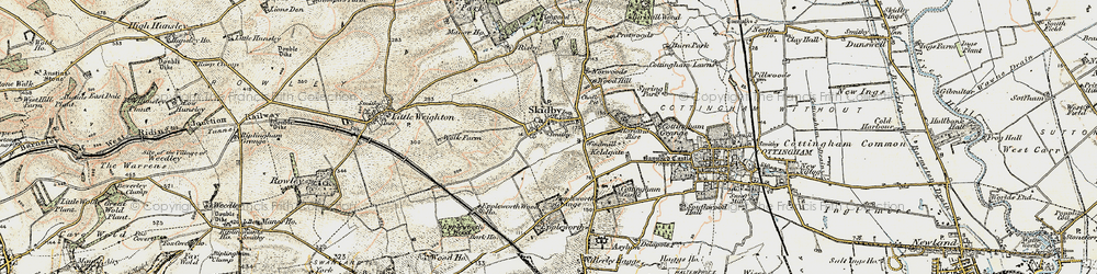 Old map of Skidby in 1903-1908