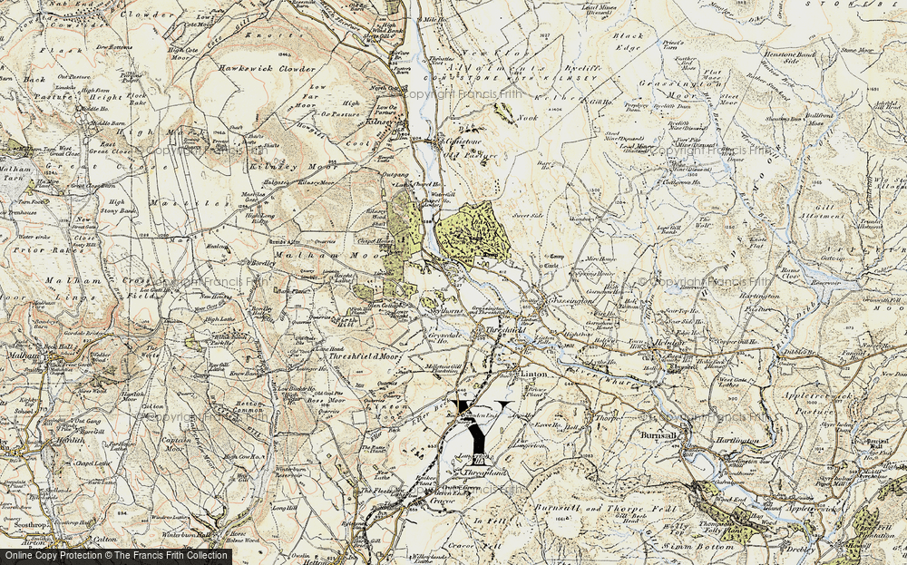 Old Map of Historic Map covering Wood Nook in 1903-1904