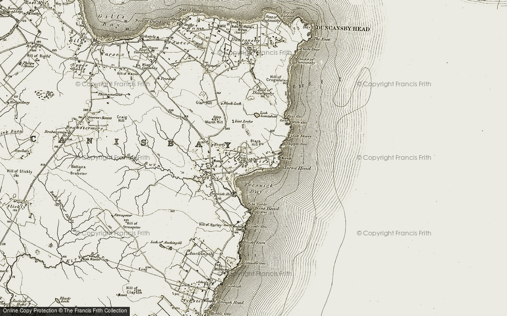Old Map of Historic Map covering Lint Lochs in 1911-1912