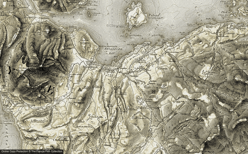 Old Map of Historic Map covering Allt a' Choire Bhuidhe in 1906-1909