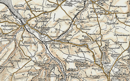 Old map of Sladesbridge in 1900