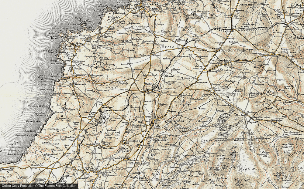 Old Map of Historic Map covering Arthurian Centre in 1900
