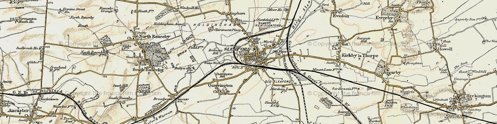 Old map of Sleaford in 1902-1903