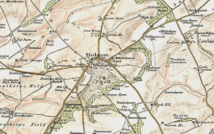 Old map of Sledmere in 1903-1904