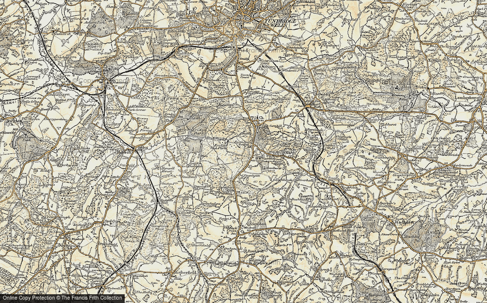 Old Map of Historic Map covering Lightlands in 1897-1898