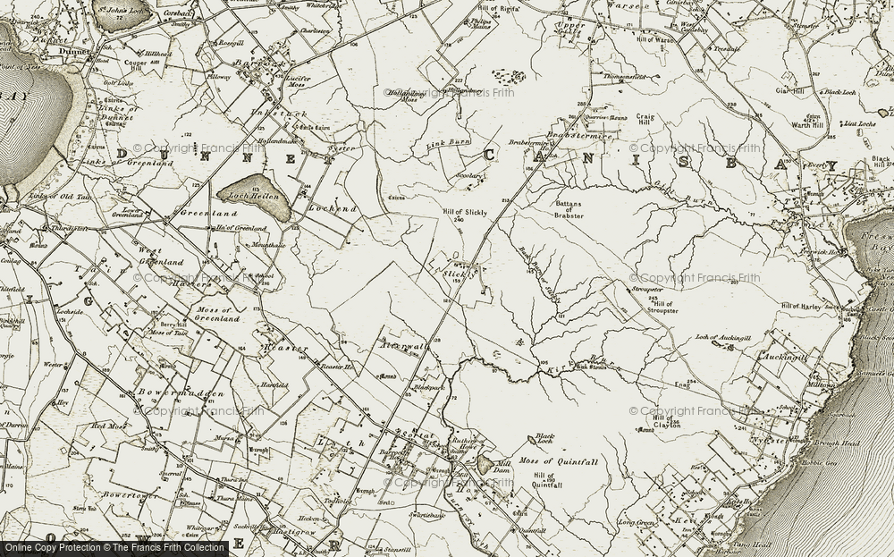 Old Map of Historic Map covering Back Burn of Slickly in 1912