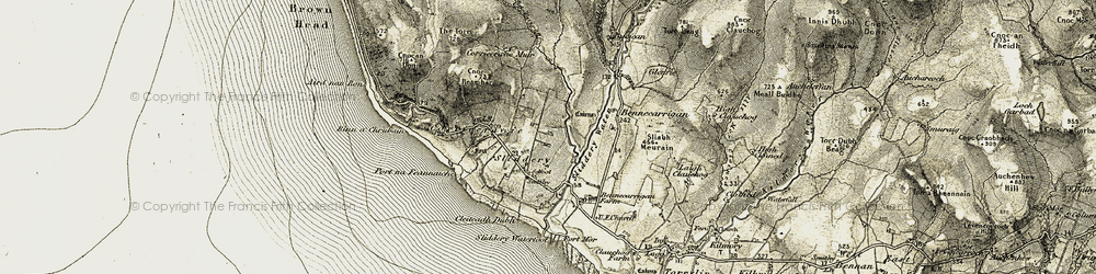 Old map of Allt Duilleachry in 1905-1906