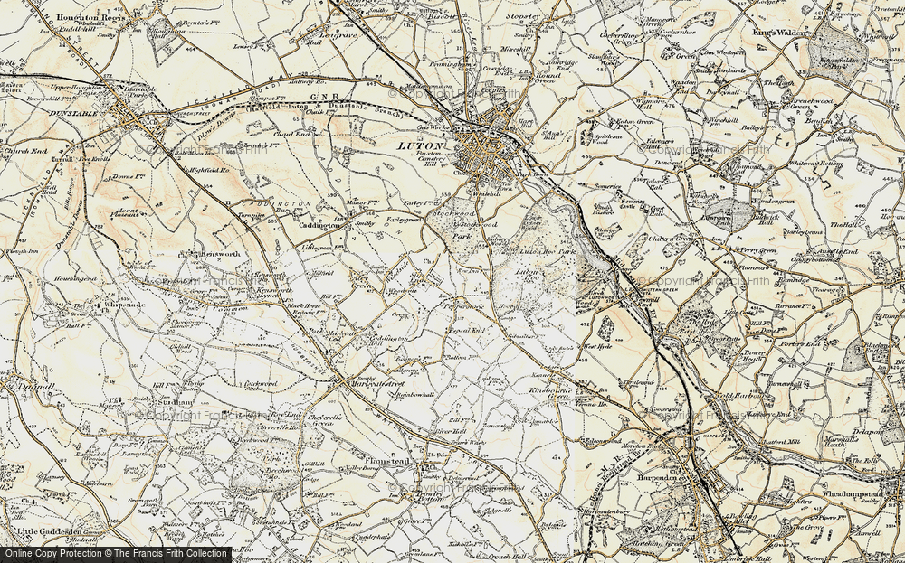 Old Map of Historic Map covering Stockwood Park in 1898-1899