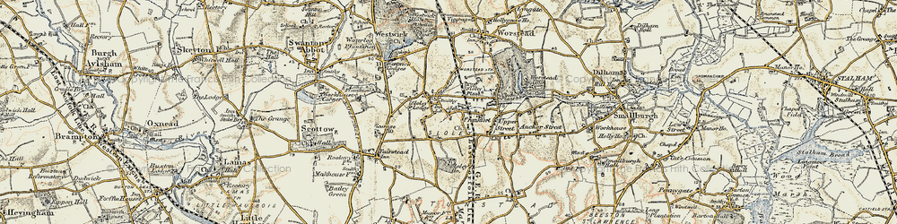 Old map of Worstead Sta in 1901-1902
