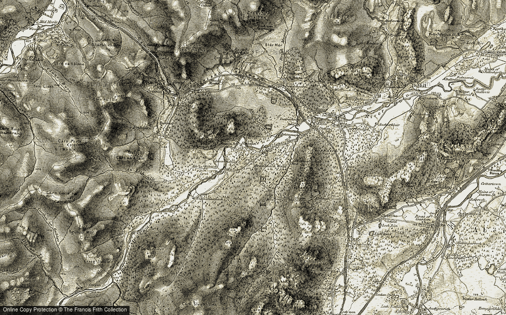 Old Map of Historic Map covering Allt an Aonaich in 1908-1912