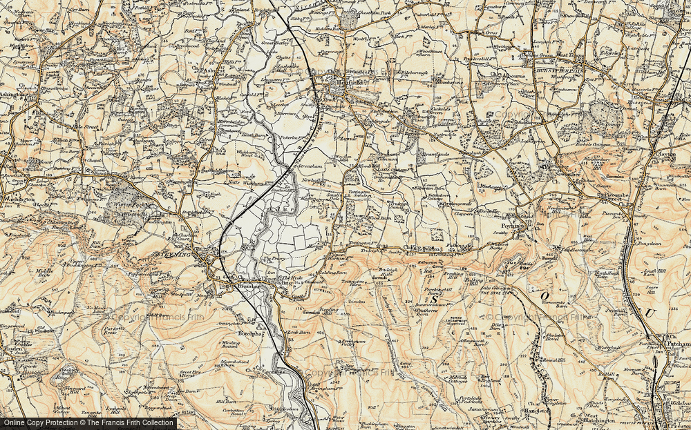 Old Map of Historic Map covering Woods Mill in 1898