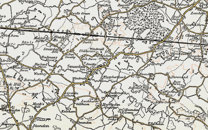 Old map of Smarden in 1897-1898