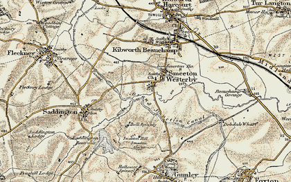 Old map of Smeeton Westerby in 1901-1902