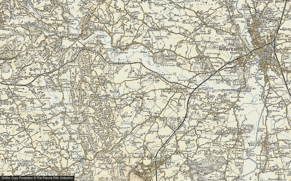 Old Map of Historic Map covering Leigh Brook in 1899-1901