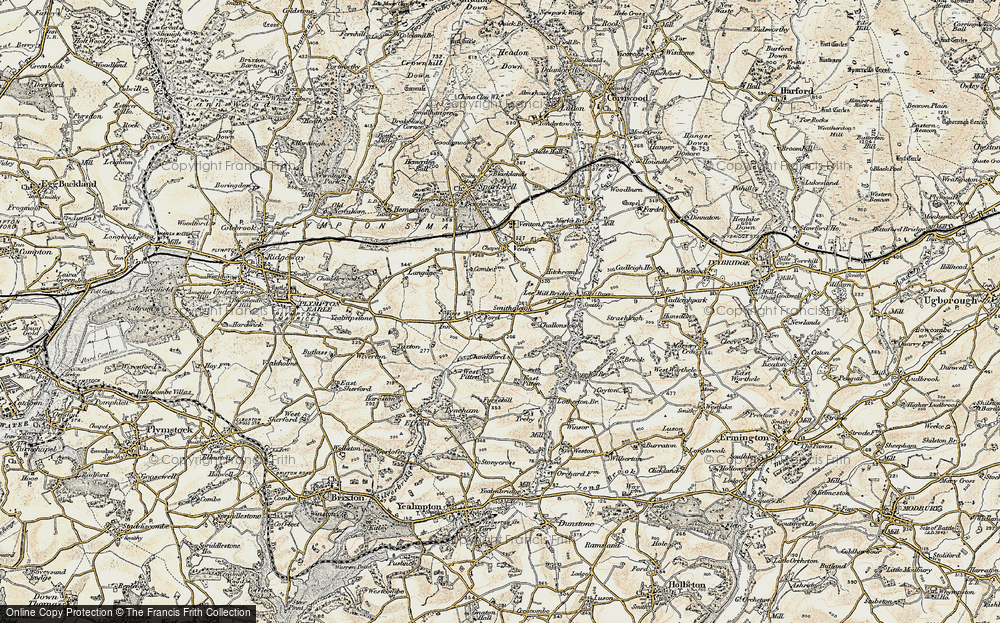 Old Map of Historic Map covering Ley in 1899-1900