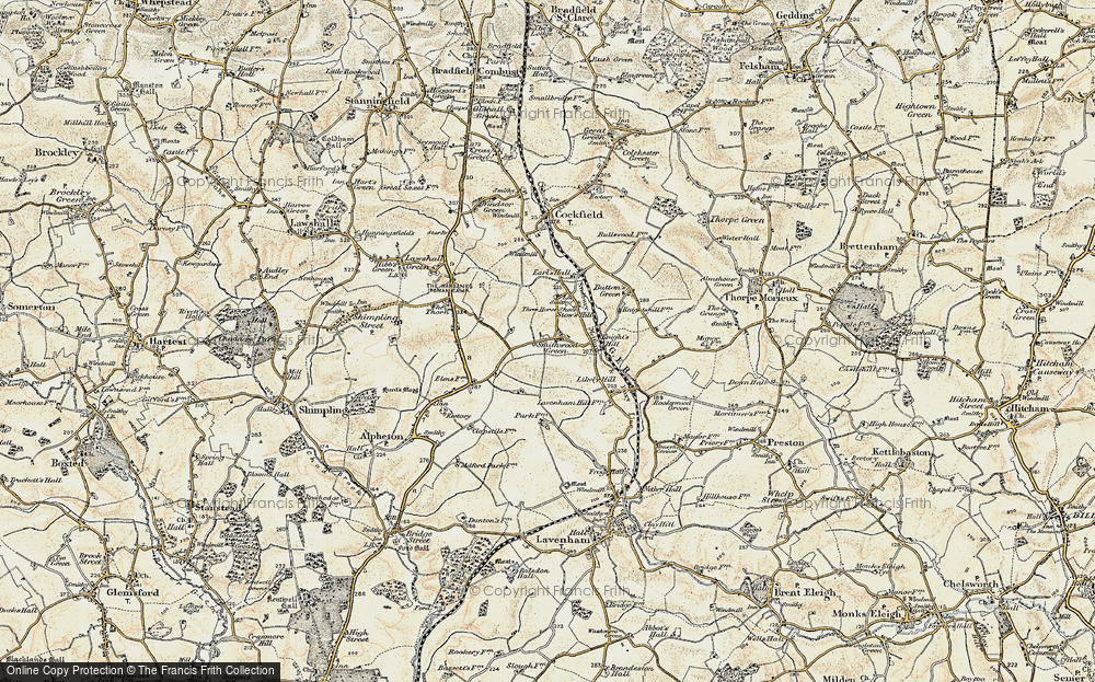 Old Map of Historic Map covering Lavenham Lodge in 1899-1901