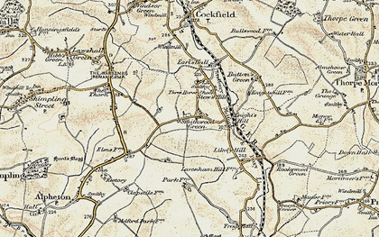 Old map of Lavenham Lodge in 1899-1901