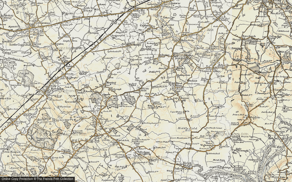 Old Map of Historic Map covering Layer Wood in 1898-1899