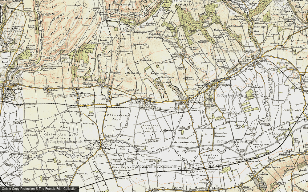 Old Map of Historic Map covering Wydale Hall in 1903-1904