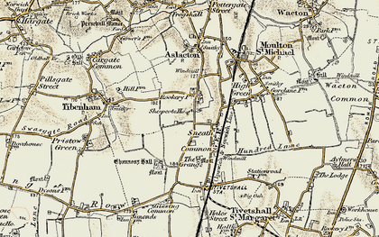 Old map of Tibenham Airfield in 1901-1902