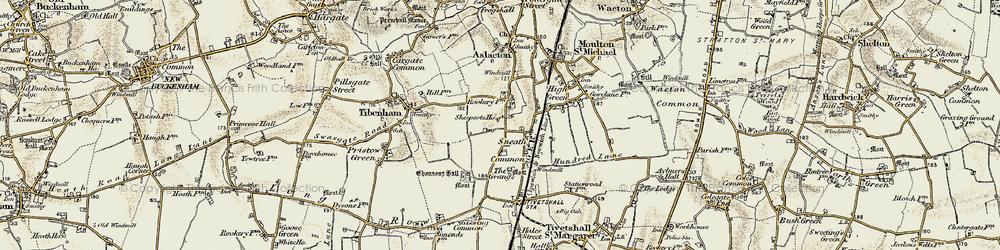 Old map of Tibenham Airfield in 1901-1902