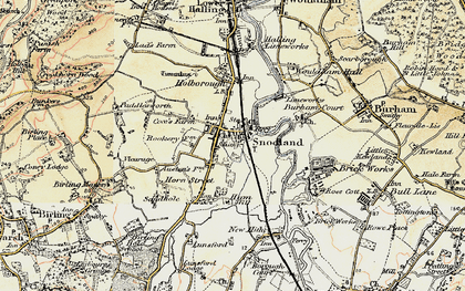 Old map of Snodland in 1897-1898