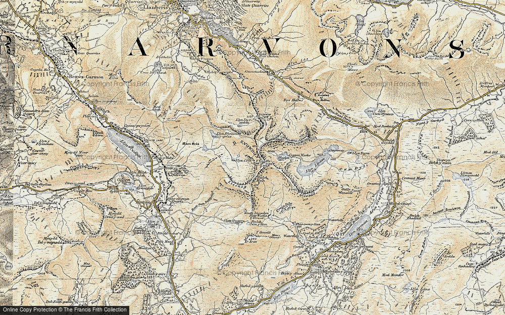 Old Map of Historic Map covering Allt Maenderyn in 1903-1910