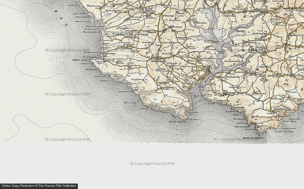 Old Map of Historic Map covering Lantern Rock in 1899