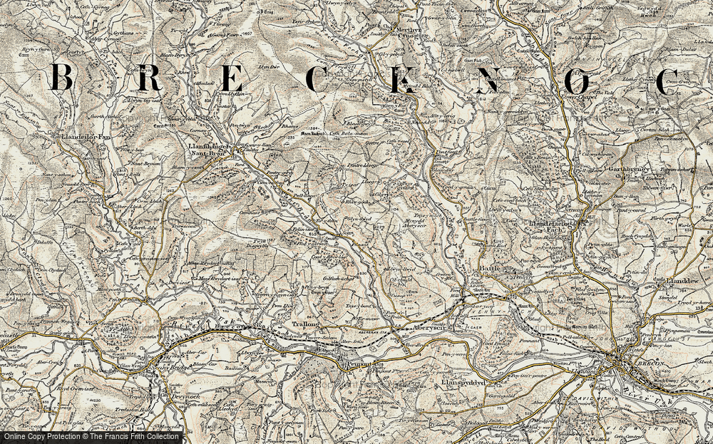 Old Map of Historic Map covering Afon Ysgir in 1900-1901