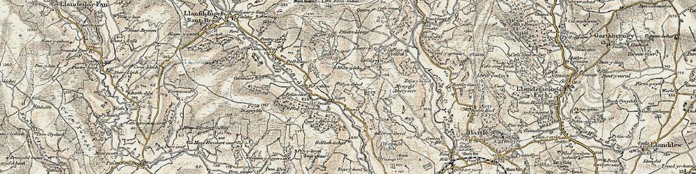 Old map of Tir-y-felin in 1900-1901