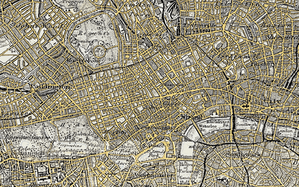 Old map of Soho in 1897-1902