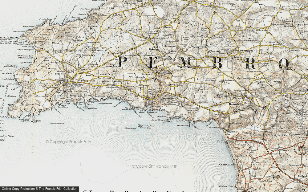 Old Map of Historic Map covering Aber-west in 0-1912