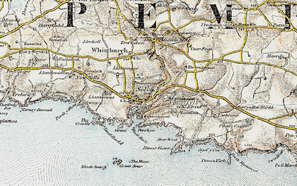 Old map of Aber-west in 0-1912