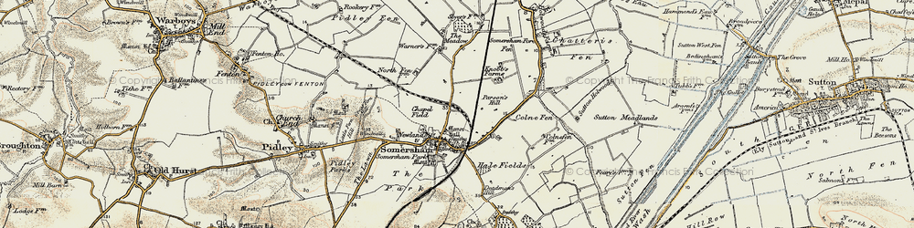 Old map of Somersham in 1901