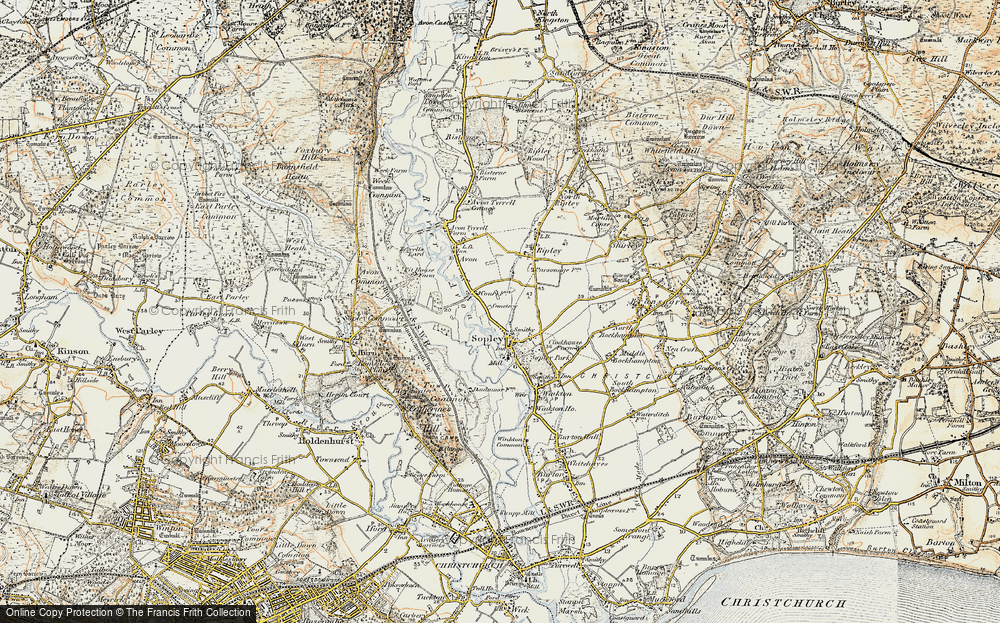 Old Map of Sopley, 1897-1909 in 1897-1909