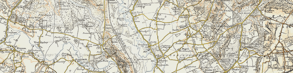 Old map of Sopley in 1897-1909