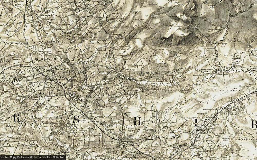 Old Map of Historic Map covering Tincorn Hill in 1904-1905