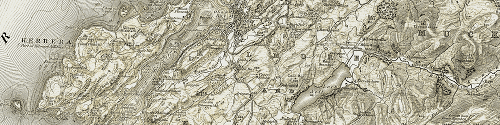 Old map of Ariogan in 1906-1907