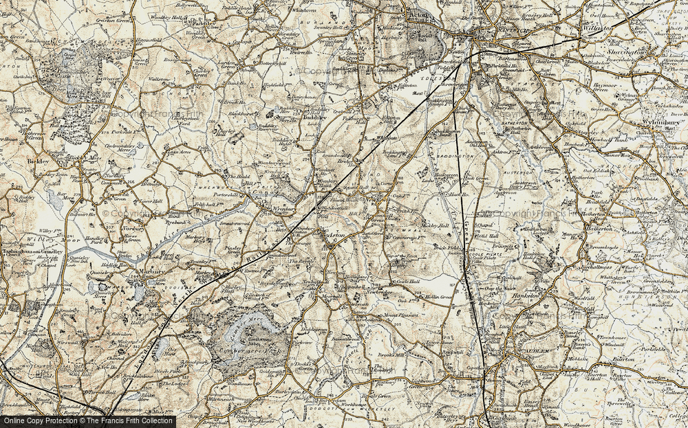 Old Map of Historic Map covering Woodcott Ho in 1902