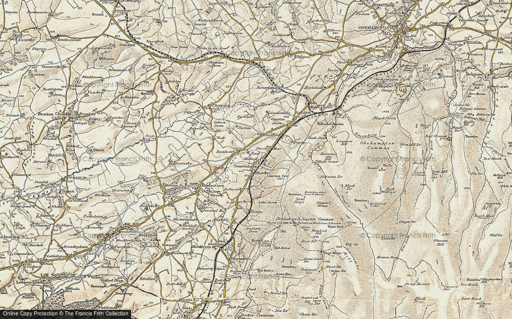 Old Map of Sourton, 1899-1900 in 1899-1900