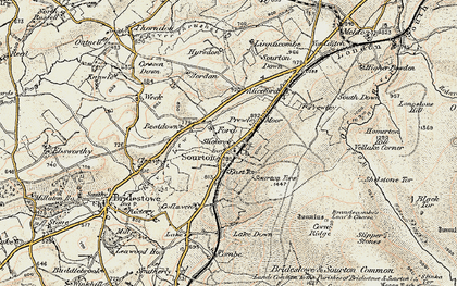 Old map of Sourton in 1899-1900